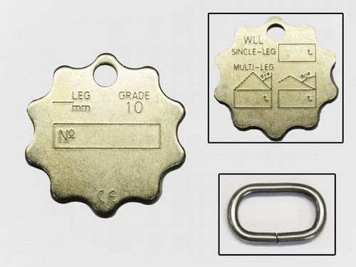 Grade 100 Sheriff Chain Tag - 10 Point Star Sling Lifting Serial Ten